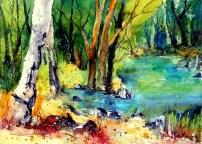 aquarell, watercolor, aquarelle, ufer, bank, shore, rive, bach, beck, creek, ruisseau, ru, wald, forest, bois, bäume, trees, arbres, thayatal