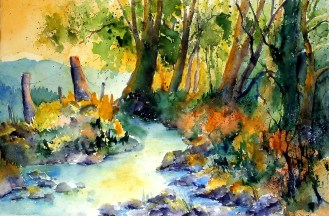 aquarell, watercolor, aquarelle, wald, forest, bois, bäume, trees, arbres, bach, beck, creek, ruisseau, ru, wildalpen