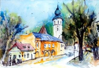 aquarell, watercolor, aquarelle, kirche, church, église, wien, vienna, vienne, grinzing,