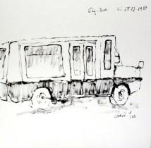 straßenbahn, tram, tramway, streetcar, trolley car, zeichnung, drawing, dessin, museum, musée,