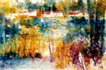 aquarell, watercolor, aquarelle, acquerello, teich, pond, étang, laghetto, stagno, waldviertel, nagelberg,
