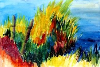 aquarell, watercolor, aquarelle, acquerello, schilf, reed, roseau, canna palustre, see, lake, lac, lago, teich, pond, étang, laghetto, stagno, sommer, summer, été, estate,