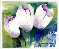 aquarell, watercolor, aquarelle, acquerello, acuarela, tulpen, tulip, tulipe, tulipano, tulipan, blumen, flowers, fleurs, fiore, flor, weiß, white, blanc, bianco, blanco,