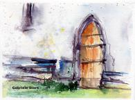 aquarell, watercolor, aquarelle, acquerello, acuarela, detail, dettaglio, detalle, tor, gate, porte, portone, porton,
