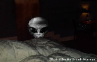 Alien Abduction grey at the foot of the bed