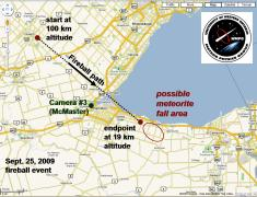Ground track and projected meteorite fall area for the September 25th Grimsby fireball