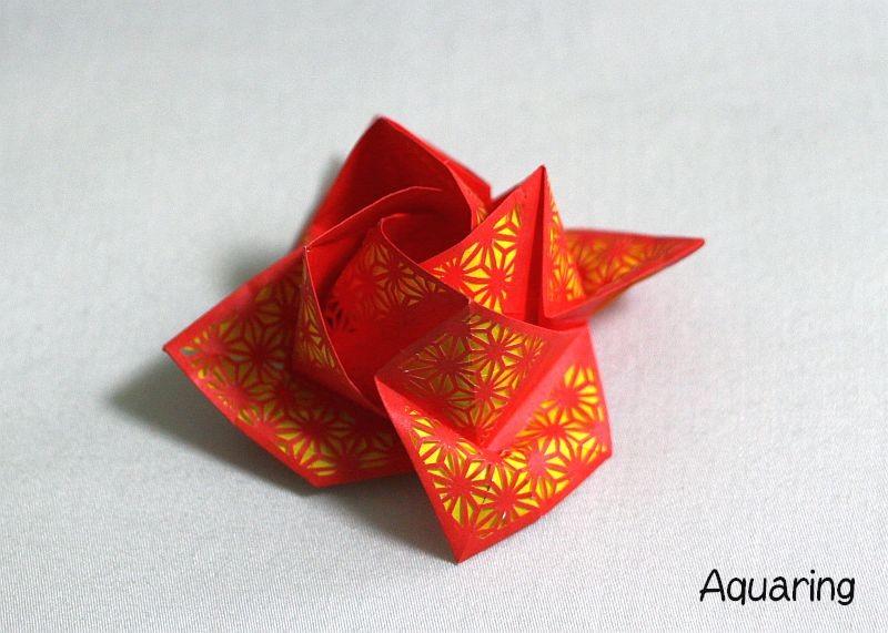 薔薇の切り絵折り紙