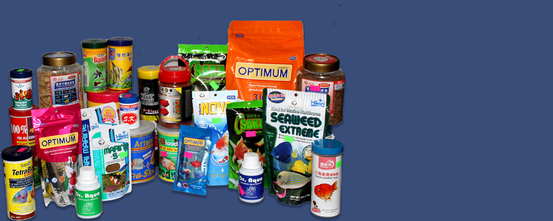large collection of fish food available in aquarium.com.bd