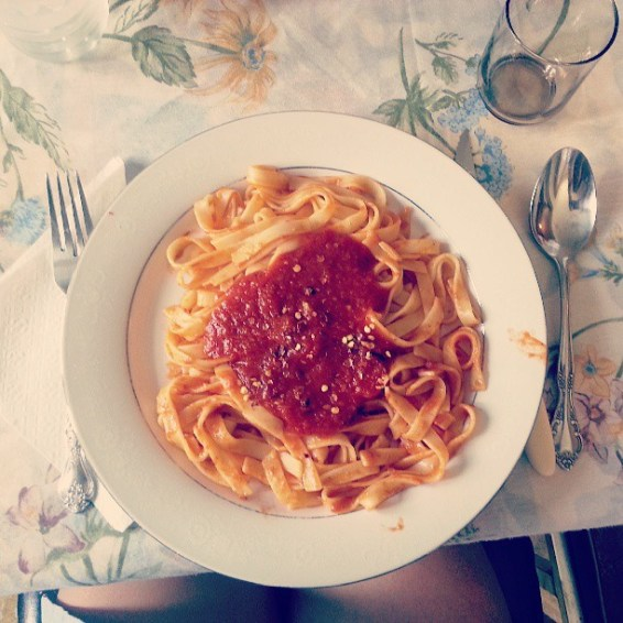"""""""Been saving my @gastropost entry for today's Sunday lunch: Pasta with homemade tomato sauce with hot pepper flakes on top. @nationalpost"""""""