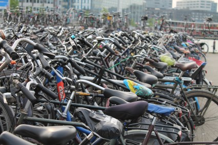 Biking in Amsterdam is no joke. There are literally racks on racks on racks.