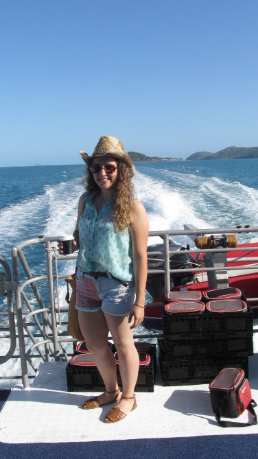 On the boat to Whitehaven Beach in The Whitsundays. Photo by: Leviana Coccia.
