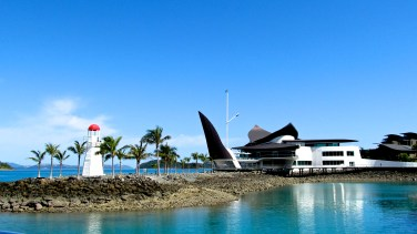 The Hamilton Island Yacht Club is designed in the shape of a sting ray. Photo by: Leviana Coccia.
