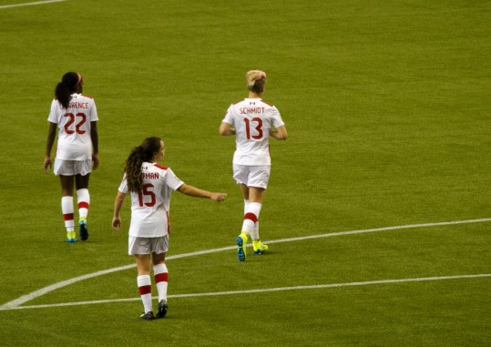 Ashley Lawrence. Allysha Chapman and Sophie Schmit from Team Canada.