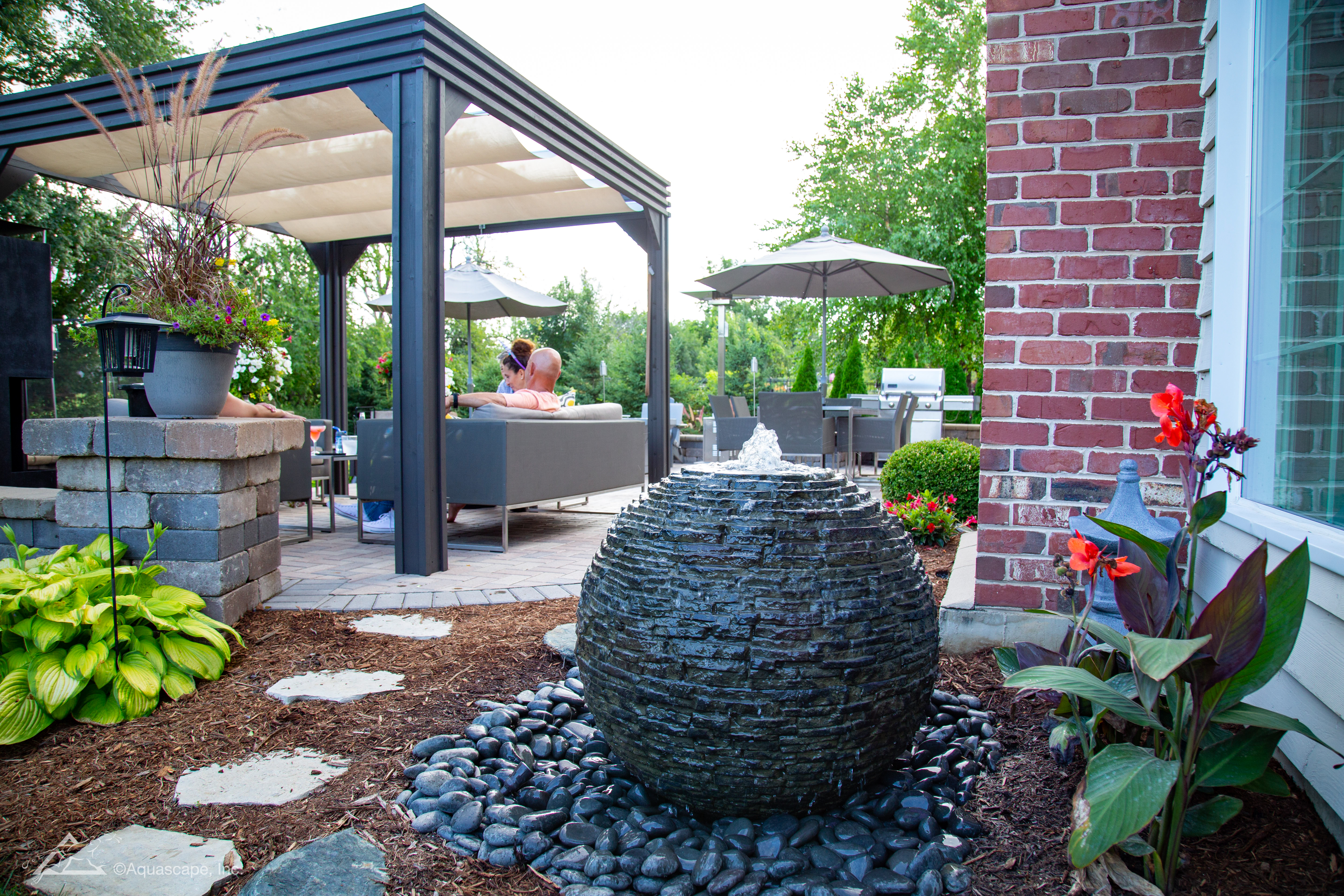 Medium Stacked Slate Sphere Landscape Fountain Kit ... on Small Backyard Water Features id=22545