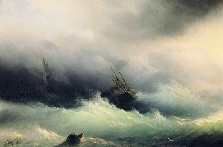 Ships in a storm, Ivan Aivazovsky