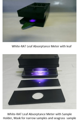 Aquation White-RAT Leaf Absorptance Meter with leaves, sample holder and mask for narrow samples