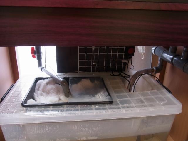 衣装ケースを利用した90cmオーバーフロー水槽用の濾過槽