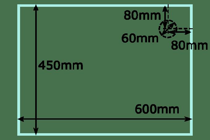 オーバーフロー水槽の穴あけ位置