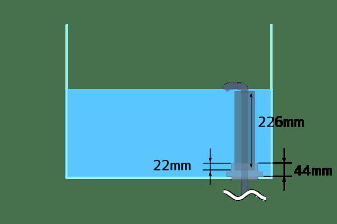 60cmワイドオーバーフロー水槽の排水管と台座の寸法