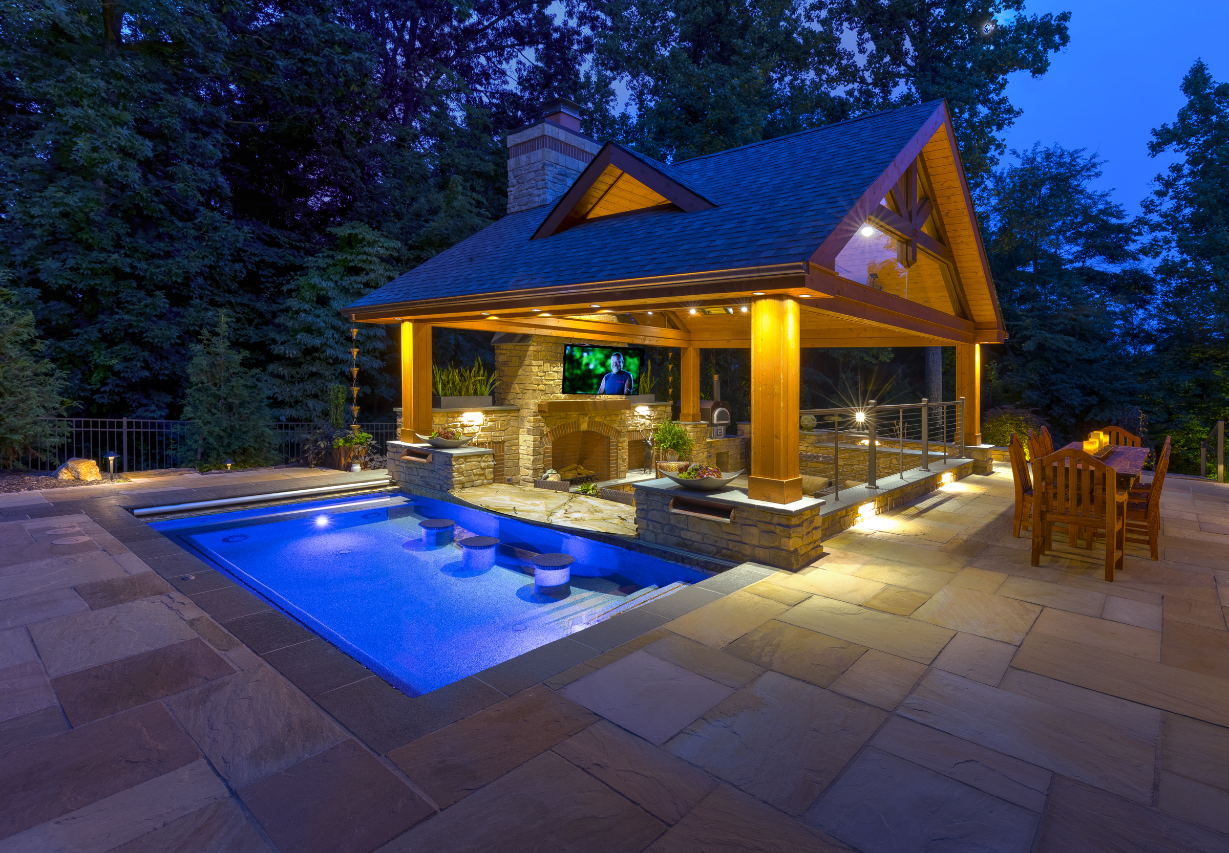 Custom Gunite Spa with Outdoor Living Area in Central PA on Outdoor Living Spa id=70586