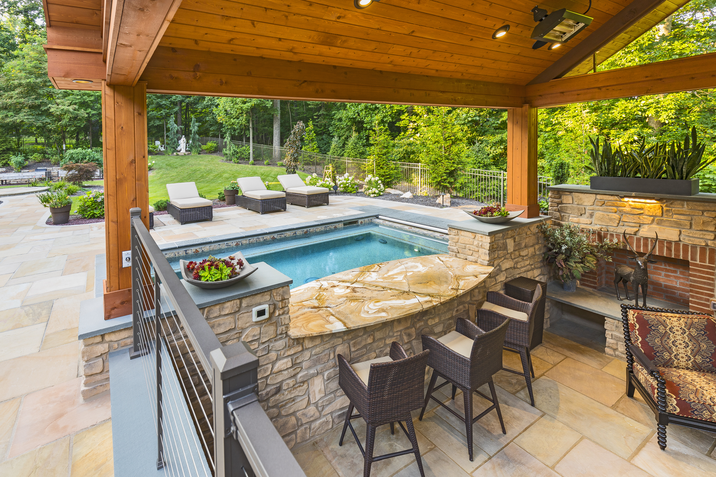 Custom Gunite Spa with Outdoor Living Area in Central PA on Outdoor Living Spa id=52317