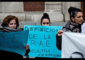 Concentración frente a la sede de la RAE. Dani Gago/ Diso Press (Fuente Periódico Diagonal)
