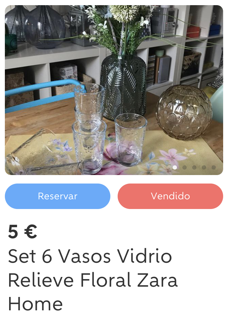 Set Vasos Vidrio Relieve Floral