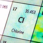 Chlorine - Cl, element 17, atomic mass 35.453, illustrating chlorination at aqueum.com