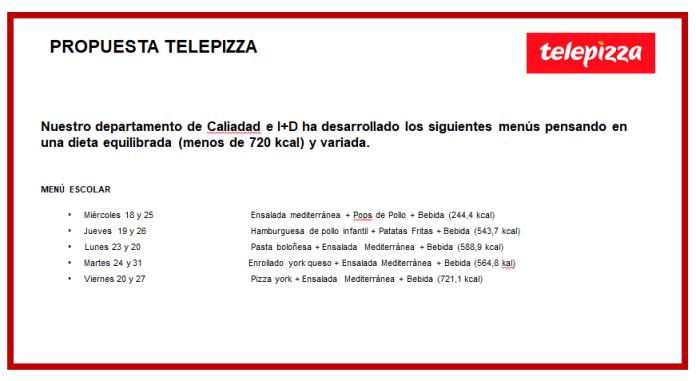 propuesta telepizza para los menús escolares para niños con beca comedor