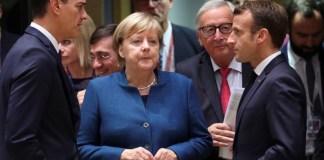 Pedro Sánchez, presidente de España, con el eje franco-alemán representado por Merkel y Macrón