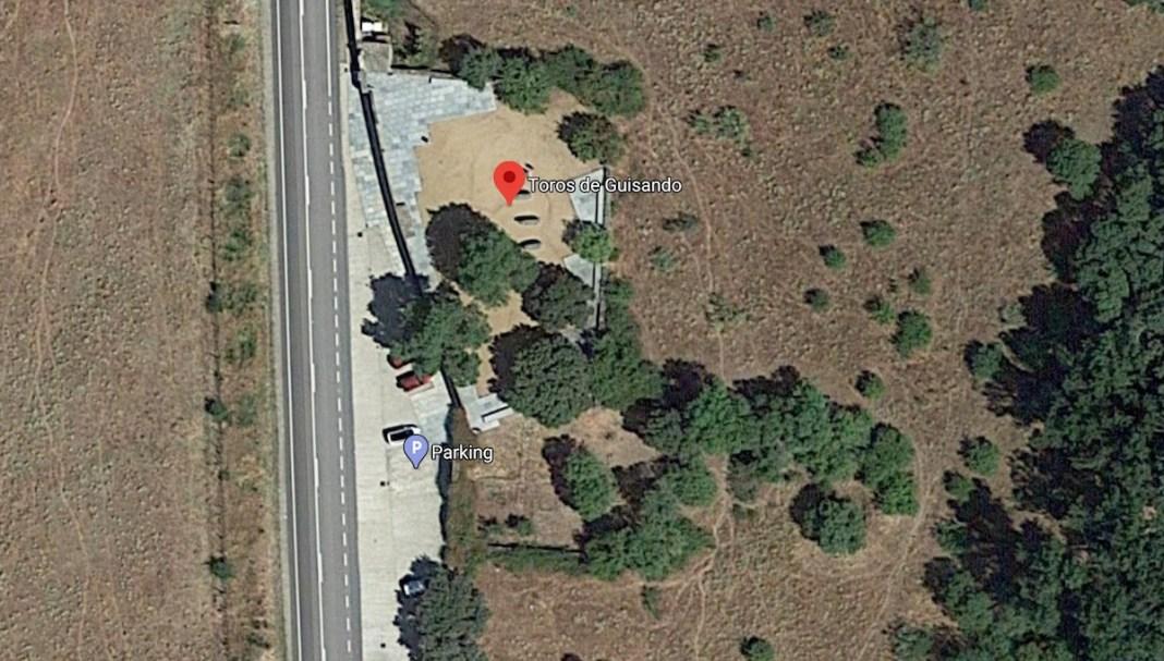 Toros de Guisando, vista aérea de Google Maps