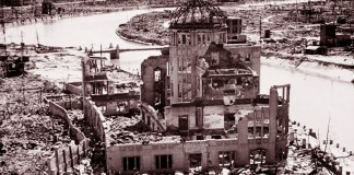 Los restos del edificio de la Prefectura Industrial de Hiroshima se conservaron como parte del conjunto de monumentos a la paz. Foto: ONU/DB