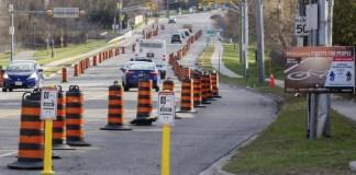 Carril bici provisional en Toronto