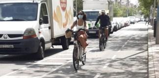 carril bici en Madrid sin casco