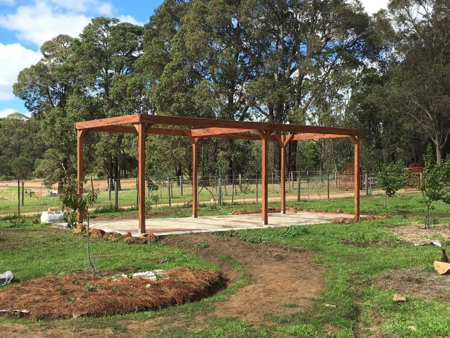 The Gazebo ready for a few battons and grape vines.