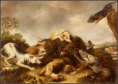 """The boar hunt"" by Frans Snyders (1650)."