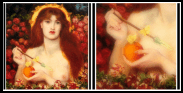 """Venus Verticordia"" (""Venus / Aphrodite the Changer of Hearts"") by Dante Gabriel Rossetti (1868). On the Right: Detail: Golden Apple."