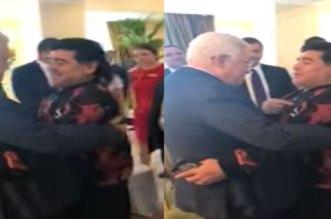 """بالفيديو.. ماردونا في لقاءه بالرئيس أبو مازن  """" قلبي فلسطيني"""""""