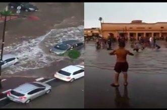 بالفيديو.. شوارع مراكش تتنفس تحت الماء في عز الصيف