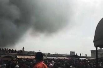 """بالفيديو.. حريق مهول في سوق """"ولد مينة"""" بالبيضاء"""