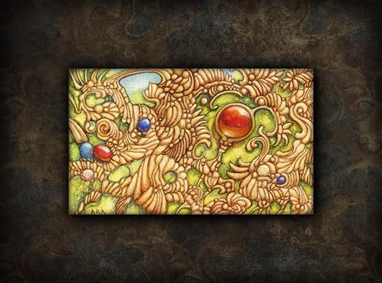 Bijou improbable - Aquarelle et Gouache sur papier 7cm x 12cm