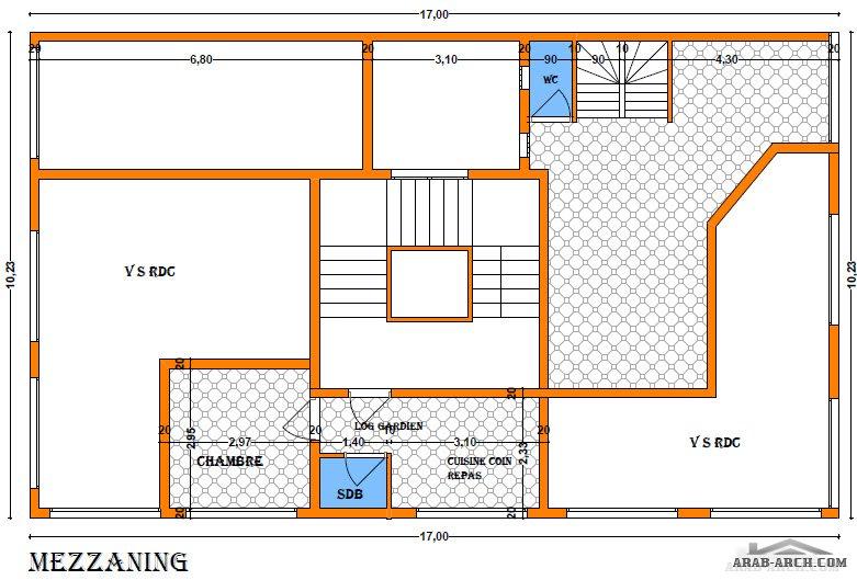 خرائط عمارة سكنية مساحه الارض 170 متر مربع تقريبا على شقتين
