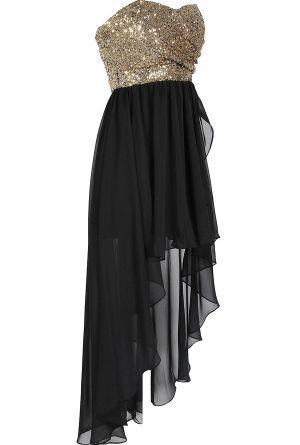 فستان سهرة انيق اسود في ذهبى توب
