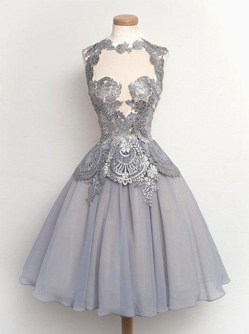فستان سهرات قصير فضى