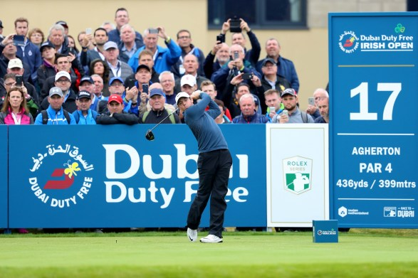 LONDONDERRY, NORTHERN IRELAND - JULY 07: Rory McIlroy of Northern Ireland tees off on the 17th hole during day two of the Dubai Duty Free Irish Open at Portstewart Golf Club on July 7, 2017 in Londonderry, Northern Ireland. (Photo by Warren Little/Getty Images)