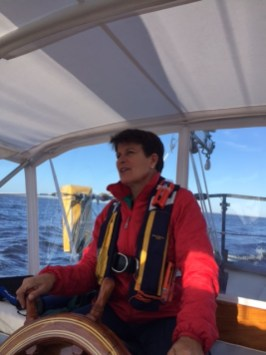Jen at the helm