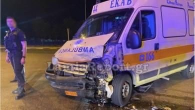 صورة إصابة رجل في تصادم مع سيارة إسعاف على الطريق السريع بين أثينا ولاميا