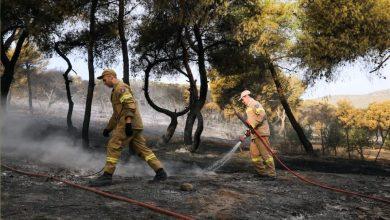 صورة اندلاع حرائق غابات في منتجع قرب أثينا ,,, و رجال الإطفاء يكافحون