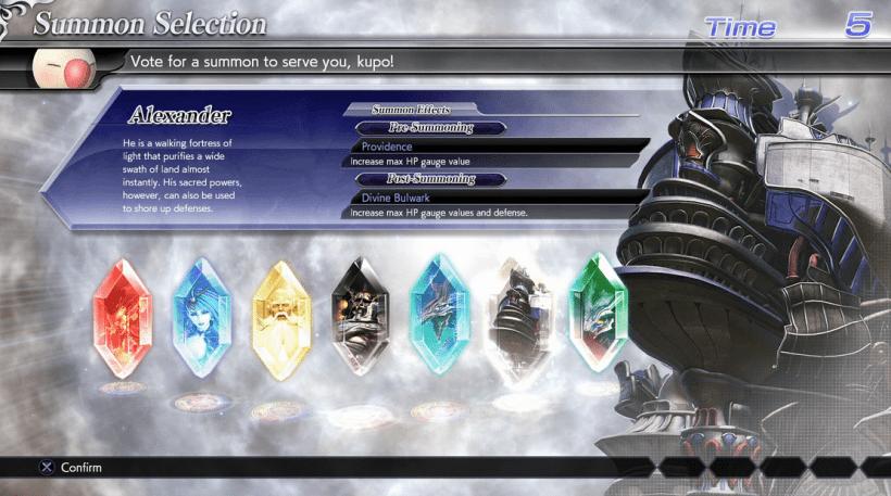 Dissidia: Final Fantasy NT Summons Selection
