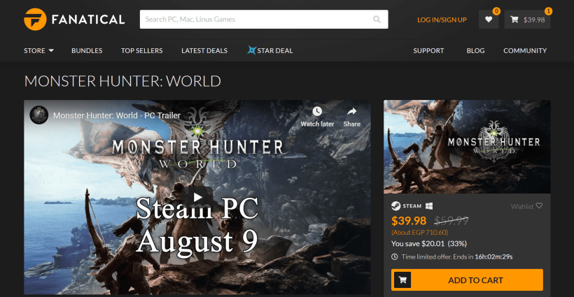 Montser Hunter World PC Capcom Fanatical Black Friday Sale